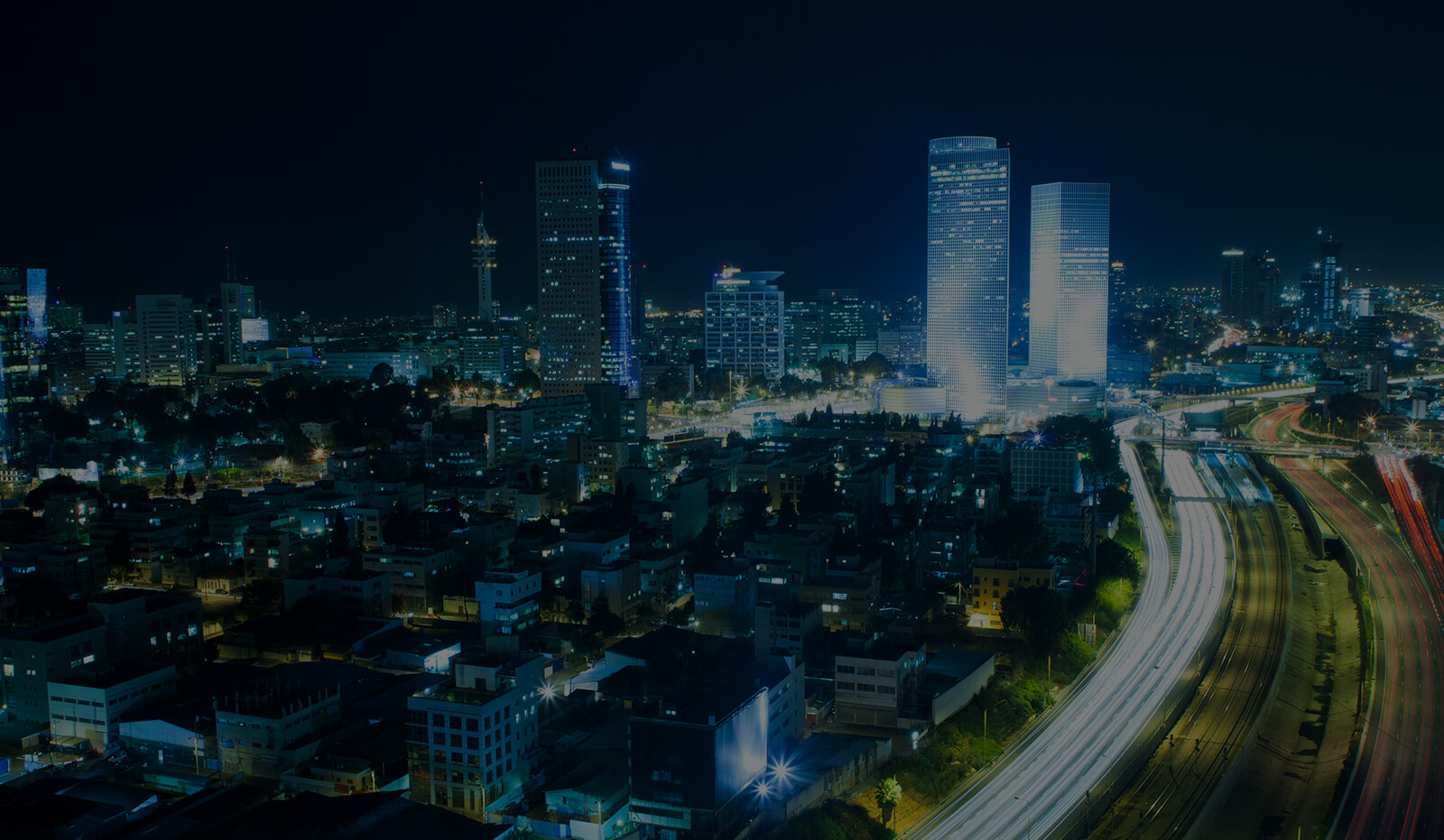 Dark Page Header: Tel Aviv Skyline